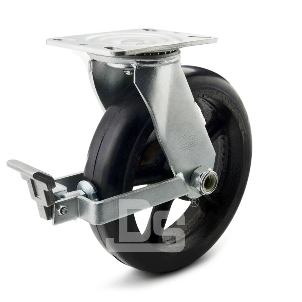 DS42系列  铁芯橡胶 重型 刹车脚轮(载重量:220~320kg)