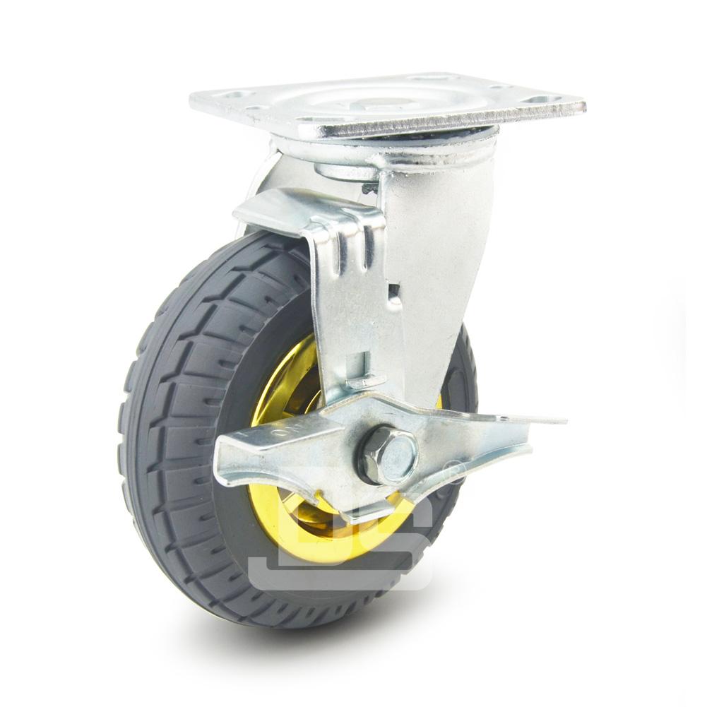 DS40系列 橡胶发泡轮 重型 工业物流 边刹脚轮(载重量:120~240kg)