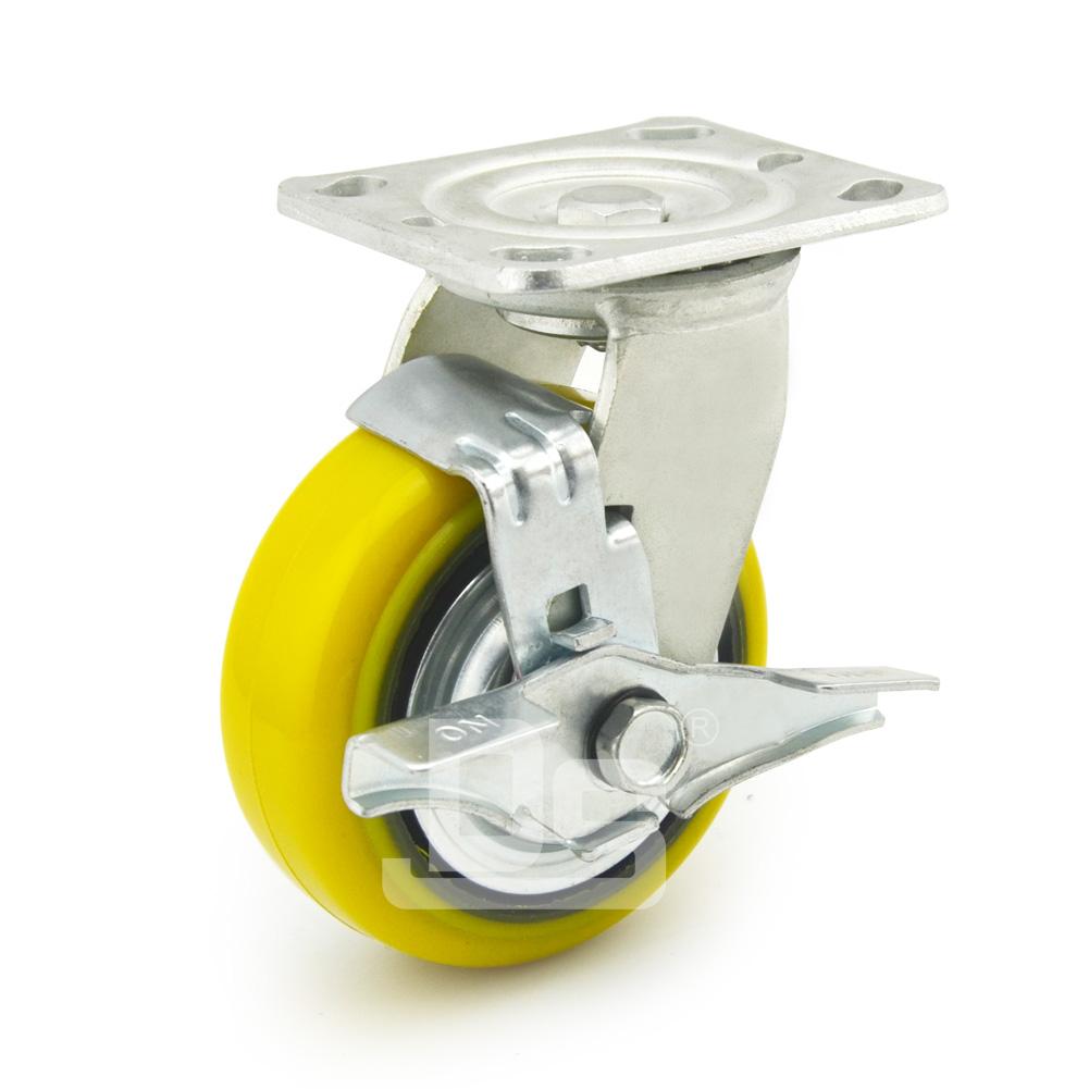 DS41系列 铁芯高载重聚氨酯 重型 工业物流 边刹脚轮(载重量:450~600kg)