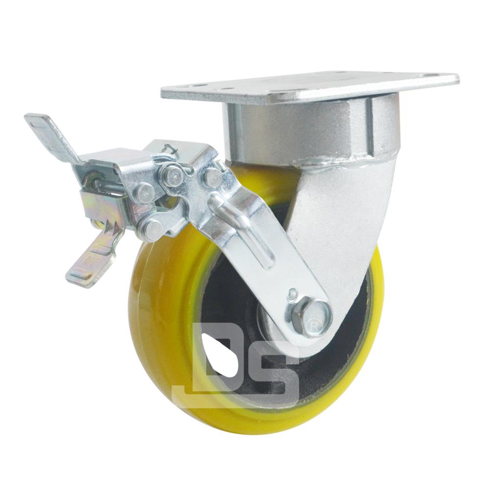 DS45系列 铁芯高载重抗冲击聚氨酯 重型 工业物流 边刹脚轮(载重量:450~600kg)