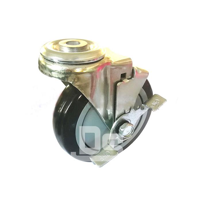 DS20系列 TPU 轻型 孔顶式 边刹脚轮(载重量:110~140kg)